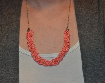 Braided Bead Statement Necklace