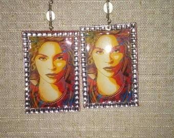Beyonce Beautifully Decoupaged Earrings