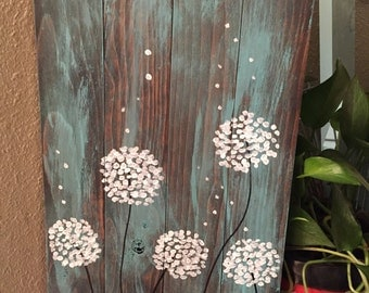 Dandelion Wishes Handpainted on reclaimed wood