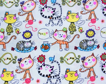 Kawaii Fabric, Cotton Fabric, Japanese Fabric, Cat, Fish,Bird, Great for Kids Clothing Sewing Crafting, Light Grey, Extra Wide, Half Metre