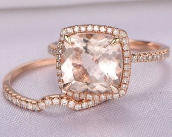 Morganite Engagement Ring Set,14k Rose gold morganite ring,9x9mm Cushion Cut Pink Stone,Curved Diamond Wedding Band,Bridal Set,Wedding Ring