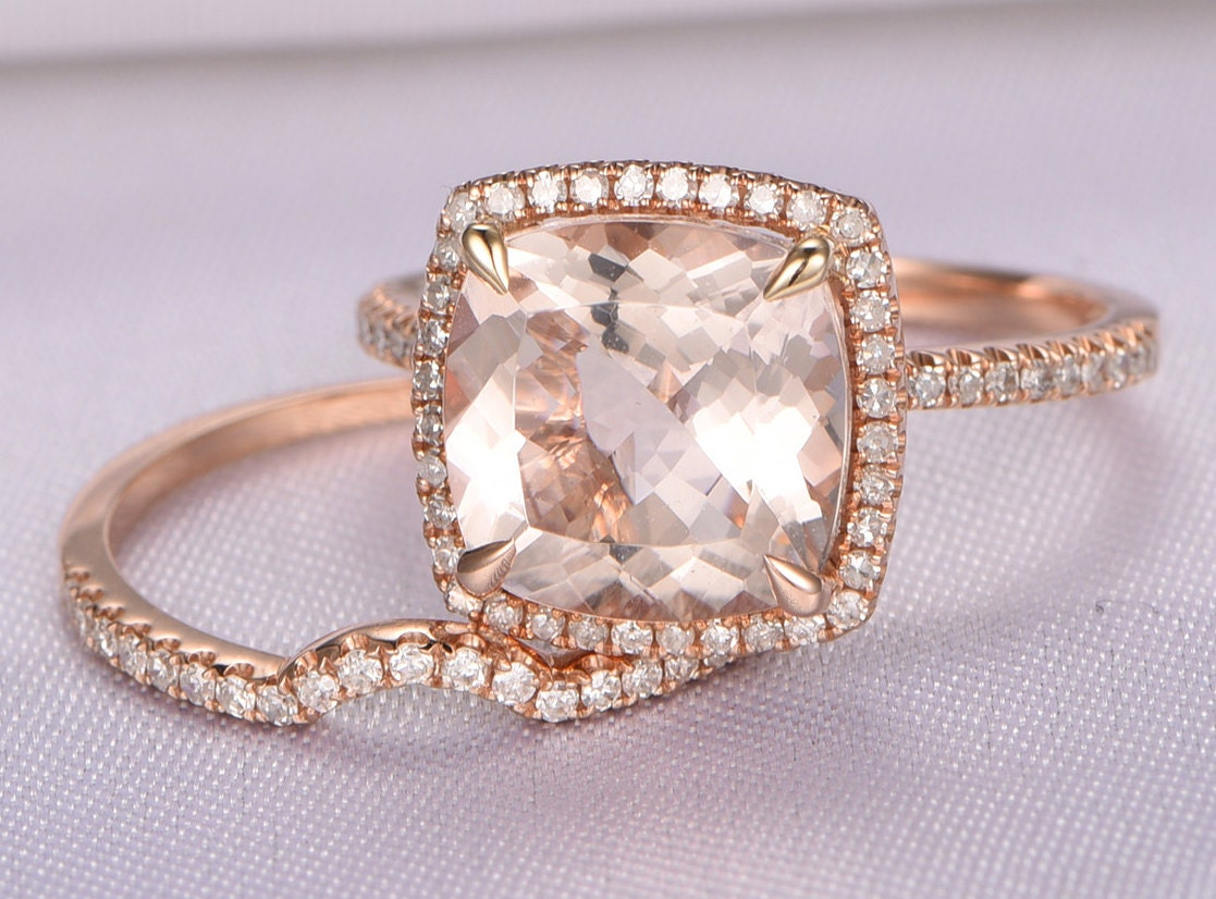 Morganite Engagement Ring Set14k Rose Gold Morganite