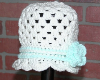 Adorable, Little Girl Crocheted Hat with Flower - FREE SHIPPING