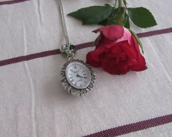 Watch necklace cameo