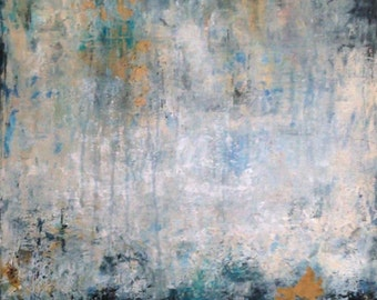 Original Abstract Painting, Modern Art, White, Blue and Black Textured Painting, Contemporary Modern Painting On Canvas, Gold Leaves