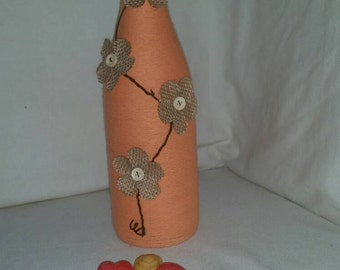 Custom twine wrapped wine bottle with flowers / upcycled bottle/ string covered / bud vase / candle holder / ornamental / home decor