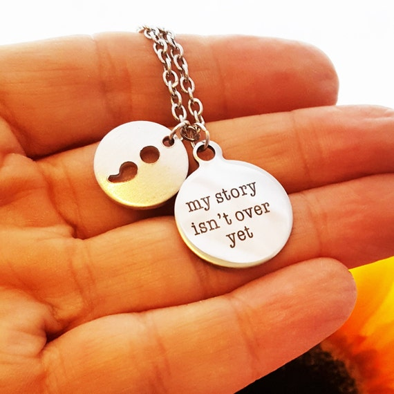 Semicolon Project Jewelry, Suicide Prevention Logo,  Semi colon Charm Necklace, My Story Isn't Over Yet, Semi Colon Jewelry, Semi-Colon Gift