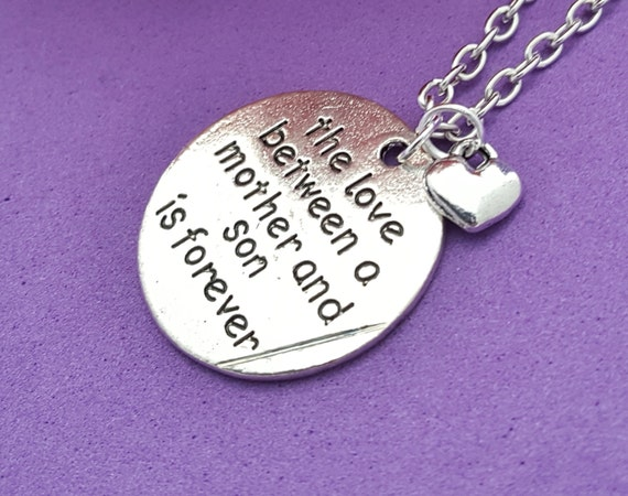 Mother Son Jewelry, Gifts for Mom Mother from Son, Mother's Charm Necklace, The Love Between a Mother and Son is Forever Charm Necklace