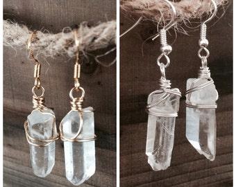 Natural quartz earrings, Aqua Aura Crystal earrings, Quartz earrings, healing earrings, crystal earrings, wire wrap earrings, raw earrings
