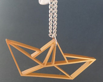 Necklace boat origami