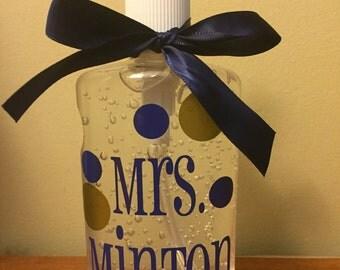 Personalized Desk Hand Sanitizer Pump Teacher Gift Back to School End of Year Teacher Appreciation Secretary Monogrammed School Supplies