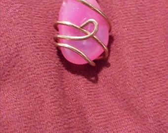 Wrapped Pink Agate Necklace