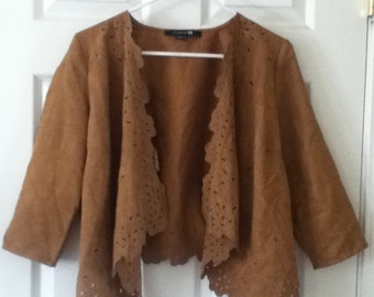 70s Inspired Faux Suede Cardigan