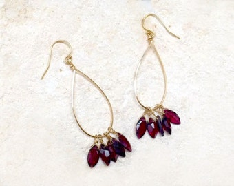 Garnet Teardrop Hoop Earrings, 14k gold-fill