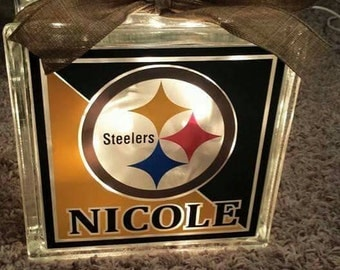 Personalized 8x8 Steelers lighted glass block