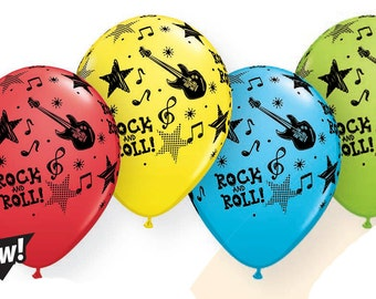 Rock and Roll , Guitar, Rockin latex 11'inch balloons asst colors 12 ct