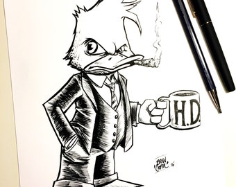 "Howard the Duck Ink Drawing 8.5"" X 11"" in."