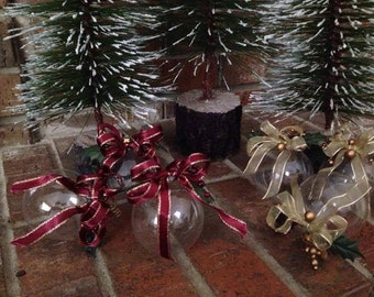 6 Handmade Vintage Ornaments, Clear Glass with Ribbons and Berries, Burgundy or Gold