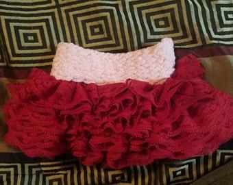 Pink red ruffle skirt