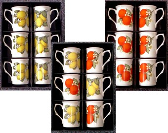 Oranges or lemons Bone china mugs set of 6 boxed 10oz mugs with choice of designs