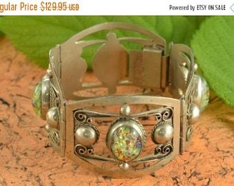 1 Day Sale Gilson Opal Link Bracelet Sterling Silver 37.4g