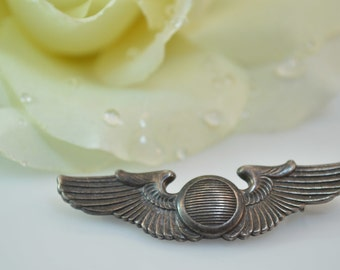 US Military Winged Pin / Brooch Sterling Silver 7.4g Vintage Estate