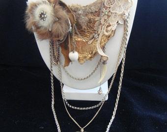 Bespoke Vintage bronze and gold unique necklace