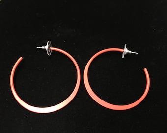 Vintage Hoop Earings, Pierced, Bright Orange