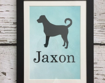 Dog Silhouette // Framed Dog Silhouette // Personalized Dog Decor // Personalized Dog Gift