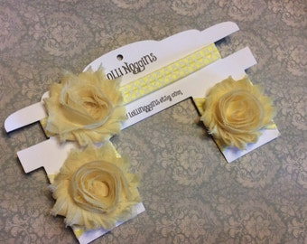 YELLOW Shabby Flower Floral headband, head band, & barefoot, bare foot sandals photo prop, christening, special occasion