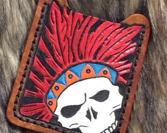 Indian Skull Leather Tooled Money Clip wallet