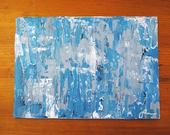 "5x7 Abstract Acrylic on Canvas Panel: ""Gray/Blue Color Study I"""