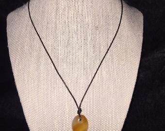 Carnelian & Leather Drop Necklace
