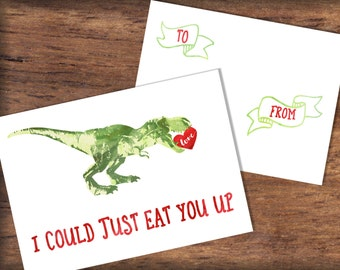 Printable T-Rex Valentine's Day Card- INSTANT DOWNLOAD- Tyrannosaurus Rex Dinosaur Valentine Print, Watercolor, Digital File