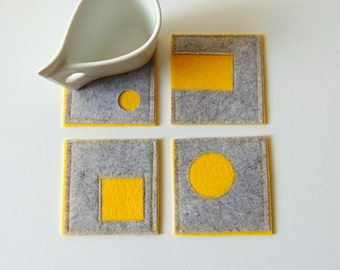 Yellow and Grey Geometric Coasters, Felt  Drink Coasters Set, Felt Coasters, Handmade coasters