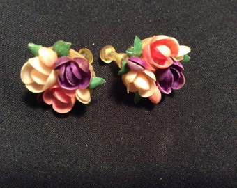 Antique Mini-Shell Flower Bouquet Earrings