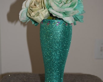 teal with flowers vase