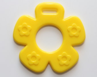 Yellow Ribbon Attached Flower Baby Teether