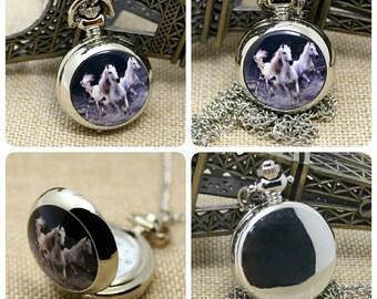 Wild Horses Pocket Watch Necklace