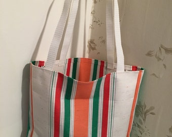 Deckchair fabric shopping bag with two straps for shoulder hieght!