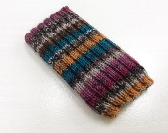 Knitted iPhone sock for SE,  4, 4S, 5, 5S, smartphone cover case, stripes