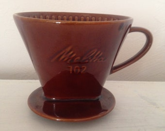 Vintage Melitta coffee filter, Melitta 102 brown ceramic coffee filter, ceramic cone filter.