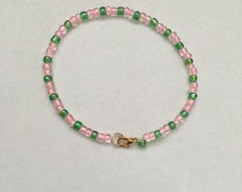 Preppy Pink and Green Bracelet