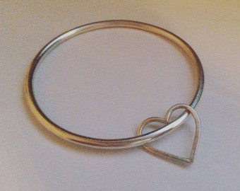 Sterling Silver Heart Charm Bangle (All Sizes Available)