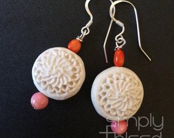 Ivory & Coral Earrings