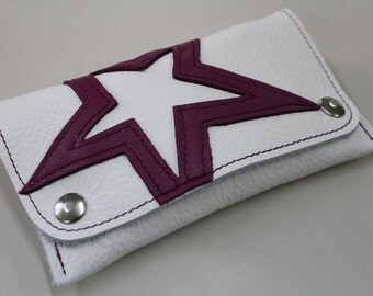 white leather tobacco pouch