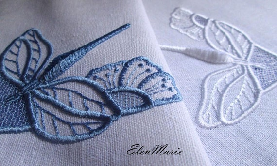 Machine embroidery design dragonfly cutwork velvet