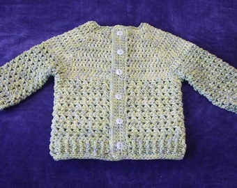 Crochet Baby Sweater, 18 Months, Hand Dyed, Baby Sweater, Crocheted, Boys Sweater