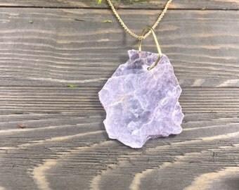 Bohemian Lavendar Leopoldite Raw Gem Necklace | Raw Crystal Necklace |  Eco-Friendly Jewelry | 10% Donation to ACLU