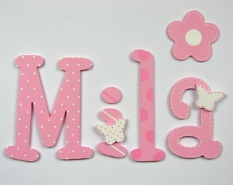 Hand painted colorful wooden letters; kids name; baby name; wall letters, letters of wood; kids room decoration; butterfly, seams, polka dot